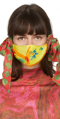 Collina Strada SSENSE Exclusive Yellow & Green Floral Bow Face Mask