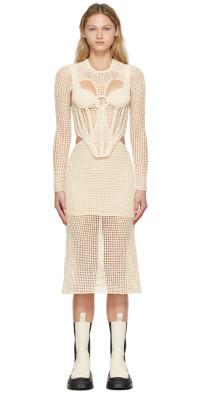Dion Lee Off-White Crochet Stirrup Dress