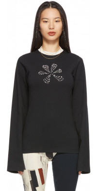 ELLISS Black Flower Doodle Long Sleeve T-Shirt