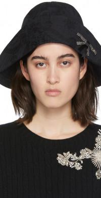 Erdem Black Jacquard Embellished Bow Bucket Hat