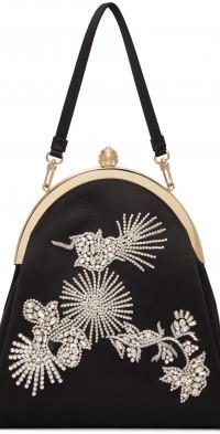Erdem Black Large Embroidered Bag