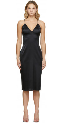 Fleur du Mal Black Luxe Lace Back Slip Dress