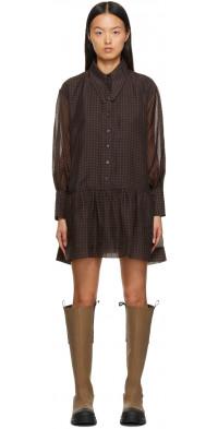 GANNI Black & Brown Organza Mini Dress