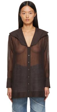 GANNI Black & Brown Oversized Collar Mini Dress