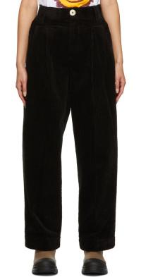 GANNI Black Organic Cotton Corduroy Trousers