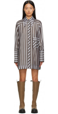 GANNI Grey & White Lightweight Stripe Mini Dress