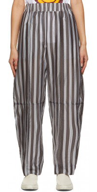 GANNI Grey Lightweight Stripe Pants