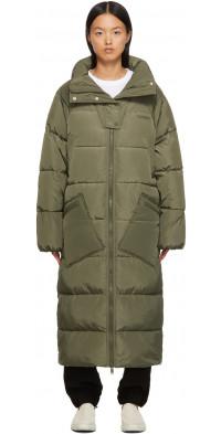 GANNI Khaki Insulated Long Puffer Coat