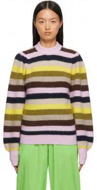 GANNI Multicolor Wool Knit Crewneck Sweater