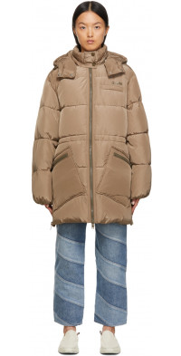 GANNI Taupe Insulated Puffer Jacket