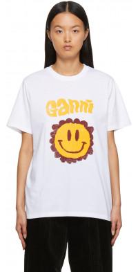 GANNI White Jersey Logo T-Shirt