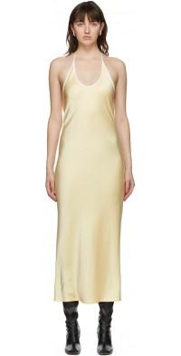 Georgia Alice Off-White Bias Cut Halter Dress