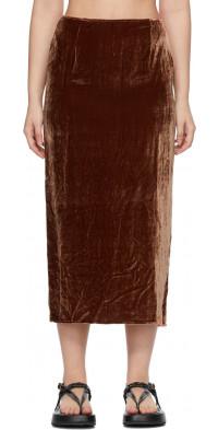 Georgia Alice SSENSE Exclusive Brown Velvet Pearl Skirt
