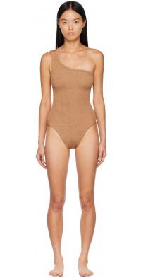Hunza G Brown Nancy One-Shoulder One-Piece Swimsuit