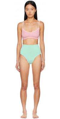 Hunza G Pink & Green Duo Color Nile Bikini
