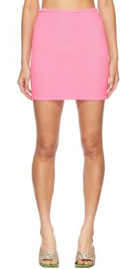 Hunza G Pink Shirred Miniskirt