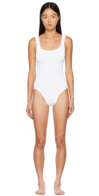 Hunza G White Square Neck One-Piece Swimsuit