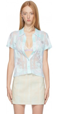 Ichiyo SSENSE Exclusive Blue Lace Short Sleeve Shirt