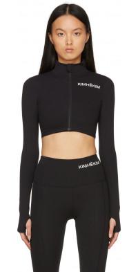 KIMHEKIM Black Cropped Zip-Up Track Jacket