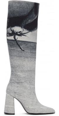 KIMHEKIM Blue Denim Printed Tall Boots