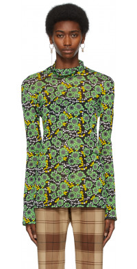 Kwaidan Editions Black & Green Floral Turtleneck