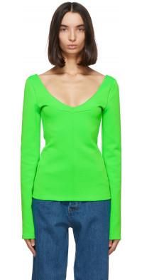 Kwaidan Editions Green Jersey V-Neck Sweater