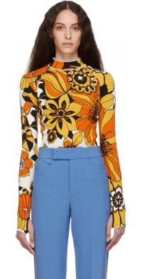 Kwaidan Editions Orange Floral Jacquard Bodysuit