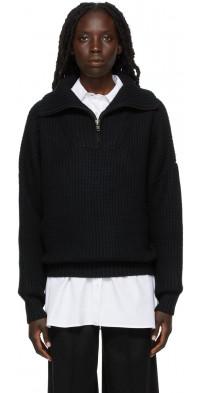 Loulou Studio Black Cashmere Tierra Half-Zip Sweater