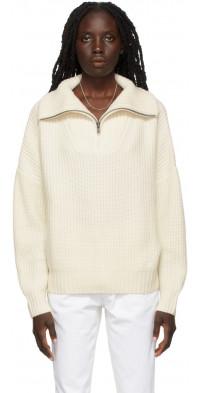 Loulou Studio Off-White Cashmere Tierra Half-Zip Sweater