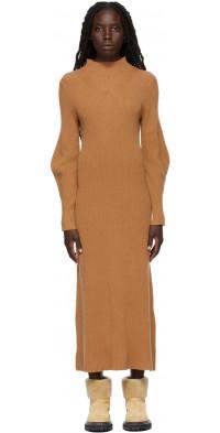Loulou Studio Tan Wool Tesoro High Collar Dress