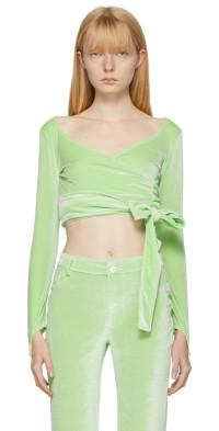 Maisie Wilen Green Dramady Wrap Cardigan