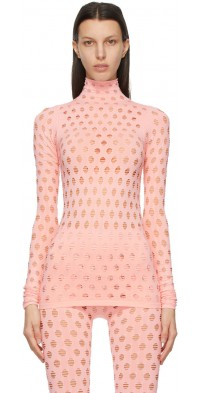 Maisie Wilen Pink Perforated Turtleneck