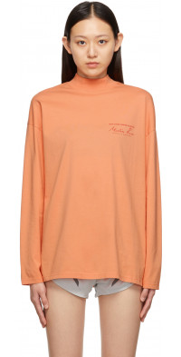Martine Rose Funnel Neck Graphic Long Sleeve T-Shirt