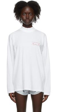 Martine Rose White Classic Logo Long Sleeve T-Shirt