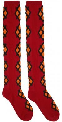 Molly Goddard Red & Orange Jacquard Mica Socks