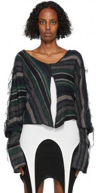 PERVERZE Black & Blue Stripe Knit Sweater
