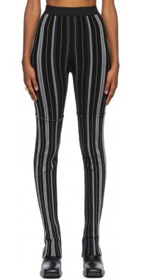 PERVERZE Black & Grey Rib Knit Random Lounge Pants