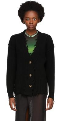PERVERZE Black Crash Two-Way Knit Cardigan