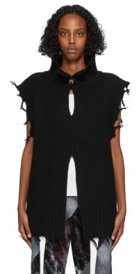 PERVERZE Black Crash Two-Way Knit Vest