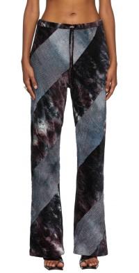 PERVERZE Blue & Purple Velour Switch Bias Line Trousers