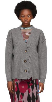 PERVERZE Grey Crash Two-Way Knit Cardigan