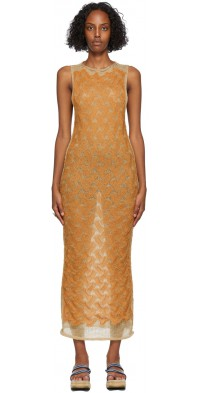 PERVERZE Orange & Tan Double Knit Dress