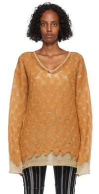PERVERZE Orange & Tan Double Knit Sweater
