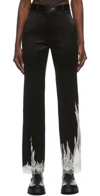 Peter Do Black Flame Satin Trousers