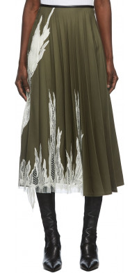 Peter Do Green Flame Pleated Skirt
