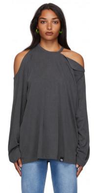 Pushbutton Grey Shoulder Cut Out T-Shirt