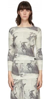 Pushbutton White & Black Story Print Long Sleeve T-Shirt