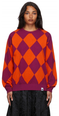 Pushbutton Wool Argyle Sweater