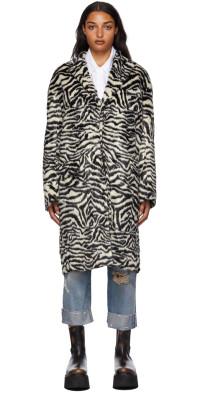 R13 Black & White Faux-Fur Zebra Teddy Bear Coat