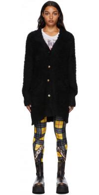 R13 Black Merino Wool Teddy Bear Cardigan